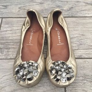 Jeffrey Campbell Gold Embellished Turtle Flats 8